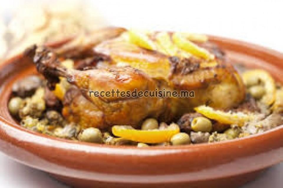 Poulet Mhamer aux olives et citron confit - طاجين الدجاج المحمر بالزيتون والحامض المرقد