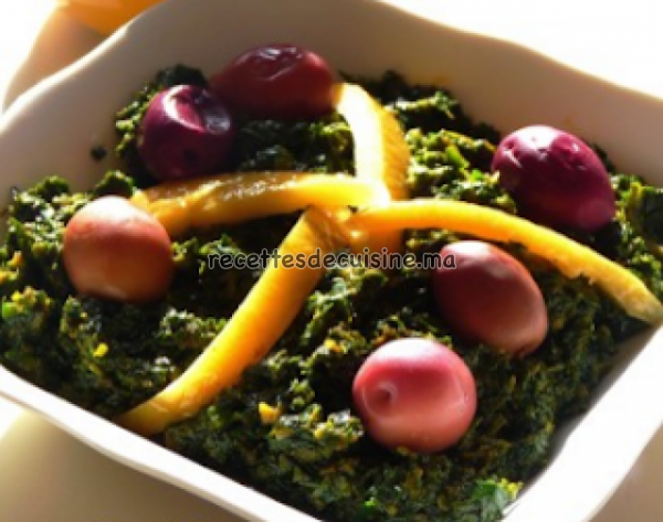Épinards aux olives et citron confit - السبانخ بالزيتون والحامض المرقد