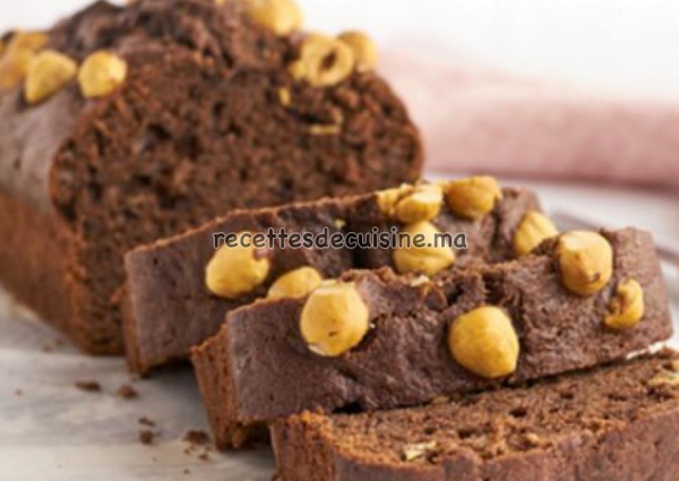 Cake au chocolat, banane, et noisettes - كيكة الشوكولاته، الموز و البندق